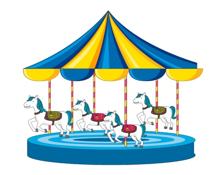Illustration of merry go round on white illustration