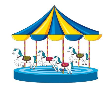 merry go round: Illustration of merry go round on white