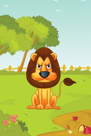 panthera: illustration of angry lion Stock Photo