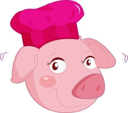 illustration of pig face on white illustration