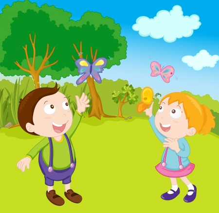 illustration of kids in the garden Stock Illustration - 13228038