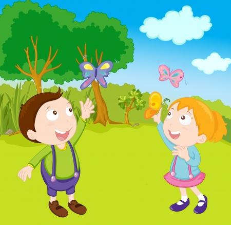 illustration of kids in the garden Stock Illustration - 13228038