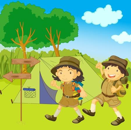 campamento: ilustración de los niños de guía de scouts Foto de archivo