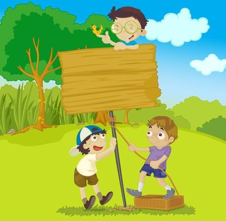 tight: illustration of three kids builting a board Stock Photo