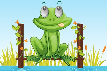 creeper: illustration of frog stting and dreaming