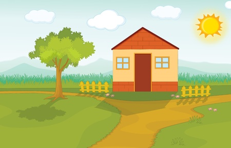 Illustration of house on green Stock Illustration - 13227889