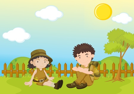 garden scenery: garden park illustration scene