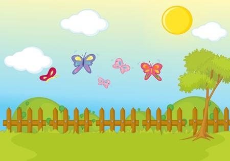 fence park: garden park illustration scene