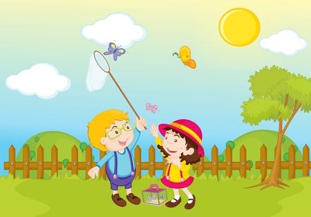 mates: garden park illustration scene