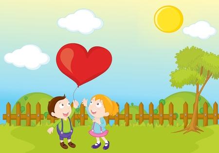 garden park illustration scene