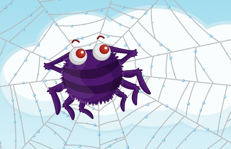 eight legged: Spider admiring view of clouds from web Stock Photo