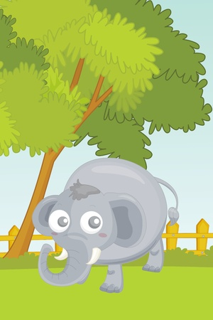 illustration of elephant in garden illustration