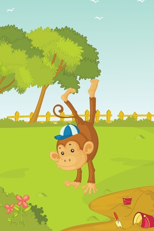 illustration of jumping monkey Stock Illustration - 13227646