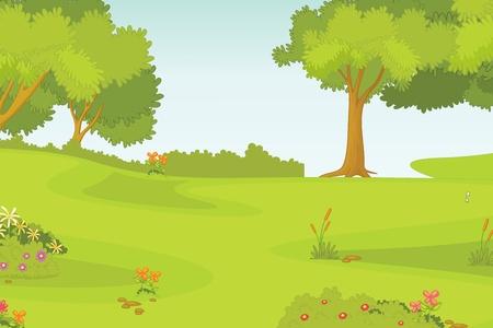 illustration of beautiful green landscape illustration