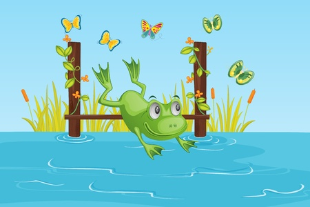jumping into water: illustration of frog jumping into water