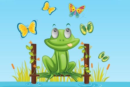 illustration of frog stting and dreaming illustration