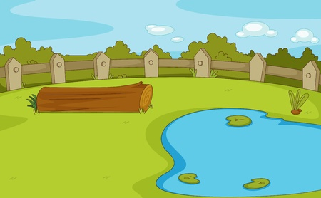 pond water: Park with log and pond empty