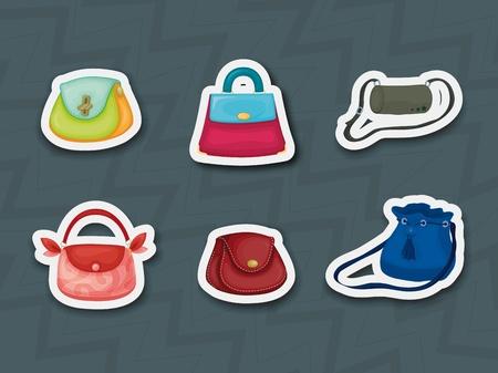 designer bag: Ilustraci�n de los iconos de calcoman�as de bolso Vectores