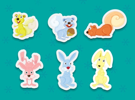 Illustration of animal stickers on background Vector