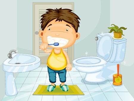 dientes caricatura: Boy cepillarse los dientes en el baño Vectores