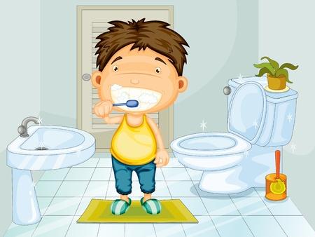 salle de bains: Dents Boy brossage dans salle de bain
