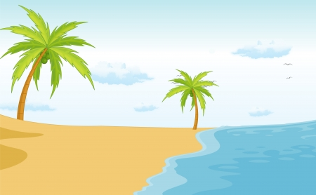 island clipart: Illustration of an empty beach scene Illustration