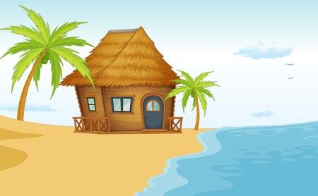 Illustrazione di una scena bungalow sulla spiaggia