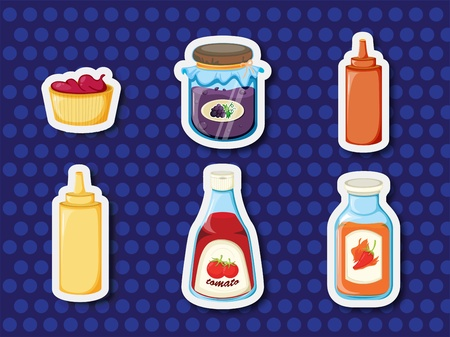 condiments: Illustration of stickers of foods and spreads