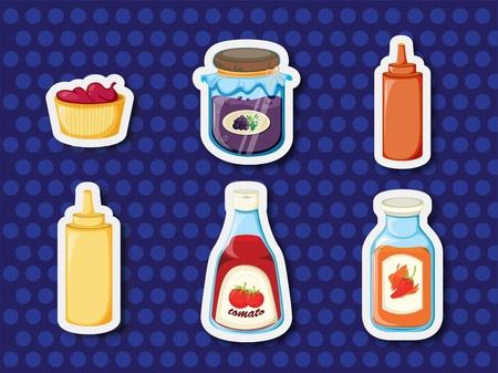 condimentos: Ilustraci�n de las etiquetas de los alimentos y se extiende