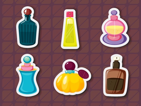 Collection of perfume bottles in sticker style Vector