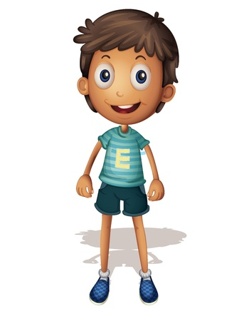 boys happy: 3D illustration of a boy on white background
