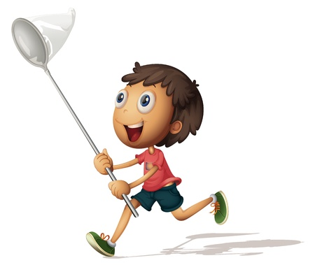 Illustration of a boy with a net Vector