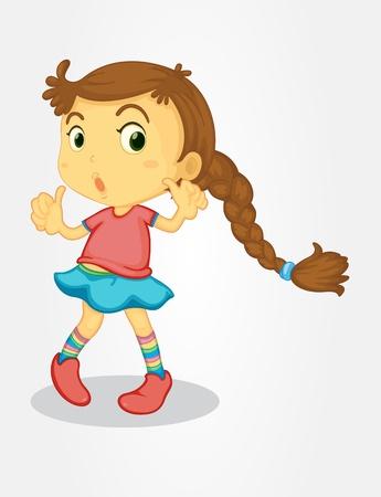 Illustrazione di ragazza con i capelli lunghi Vettoriali