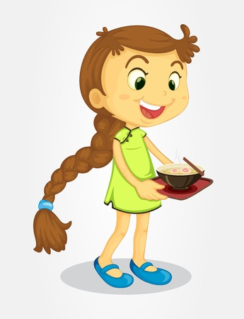 hungry kid: Illustration of a long-haired girl with noodles