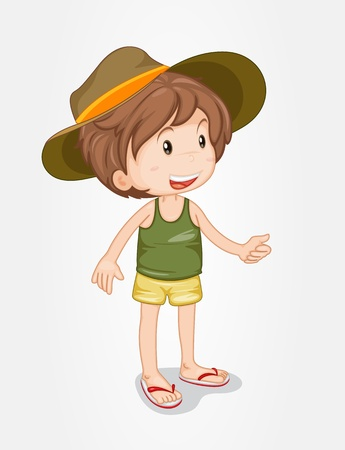 white singlet: Illustration of an isolated boy with a hat