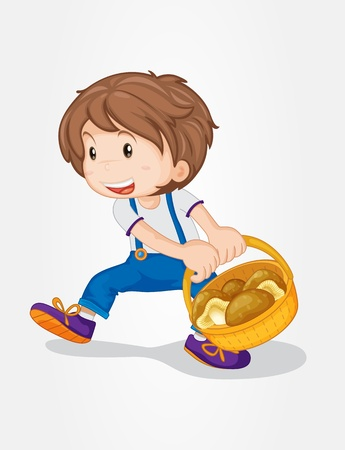 Illustration of a boy with a basket of mushrooms
