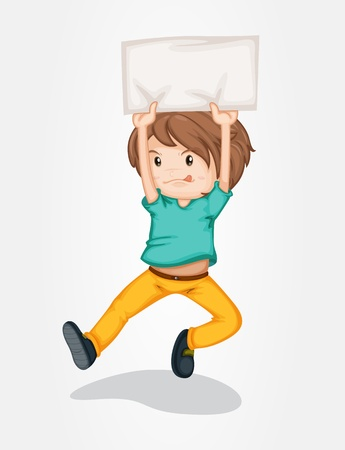child tongue: Illustration of boy holding a banner