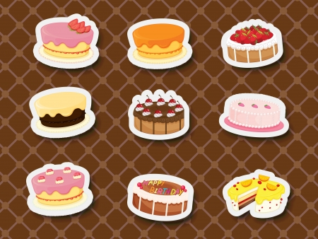 Collection of sweets and dessert stickers Vector