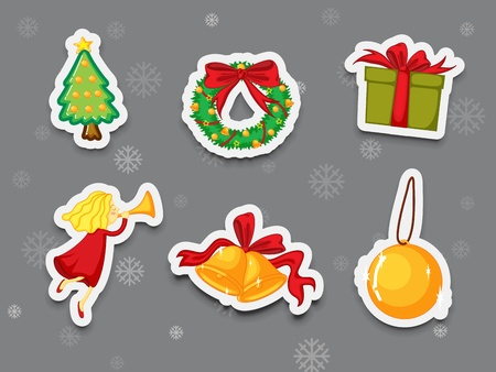 Illustration of christmas present stickers Stock Vector - 13233469