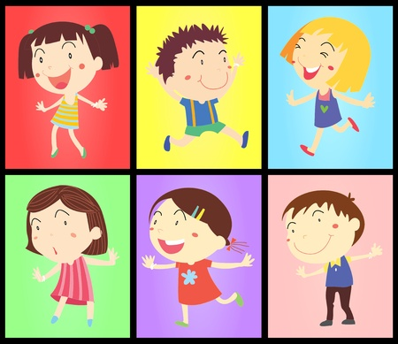 Funky kids dancing on colors Vector