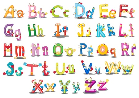 cute cartoons: Illustration of Alphabet characters on white