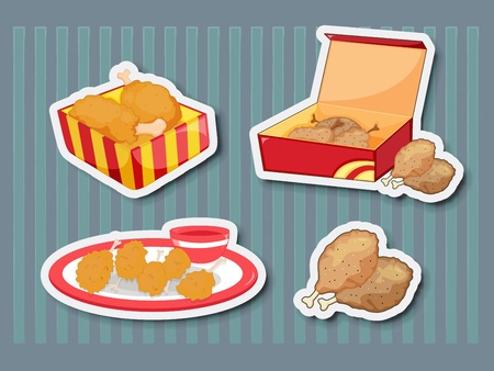 fried foods: Illustration of chicken foods as stickers