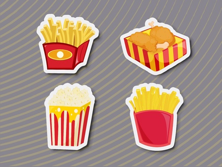 Illustration of unhealthy food as stickers Vector