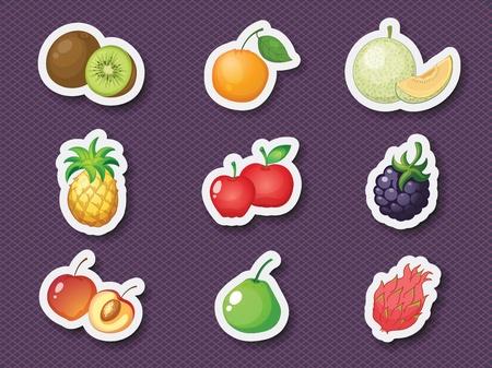 fruit du dragon: Illustration de fruits m�lang�s dans le style sticker