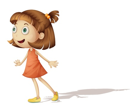 Illustration of a young girl looking over Vector