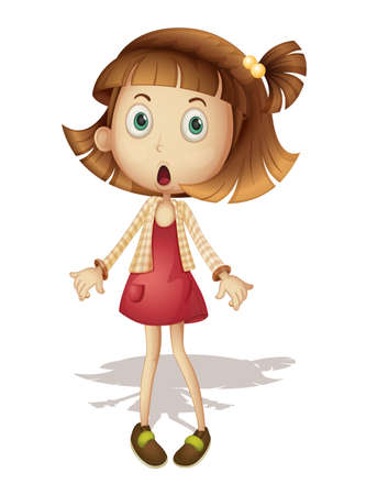 cartoon little girl: Detailed illustration of surprised girl