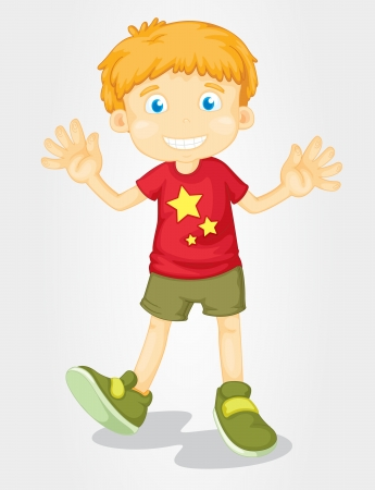 one little boy: Illustration of isolated boy in summer gear Illustration