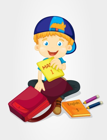 Boy packing his school bag Vector