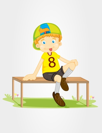 lawn chair: Illustration of a boy sitting on a bench