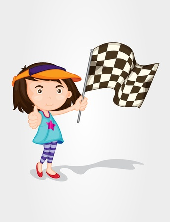 alone person: Illustration of a girl hold race flag Illustration
